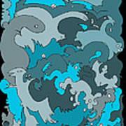 Blue Creatures Art Print by Barbara Marcus