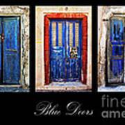 Blue Doors Of Santorini Art Print by Meirion Matthias