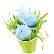 Blue Easter Eggs And Green Grass Art Print