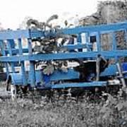 Blue Farm Wagon Art Print