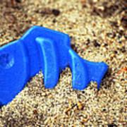 Blue Fish Swims In Sand Sea Art Print