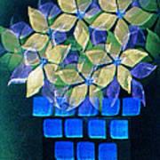 Blue Flower Pot Art Print