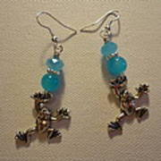 Blue Frog Earrings Art Print by Jenna Green