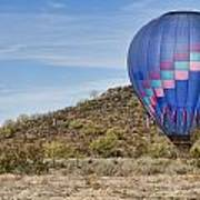 Blue Hot Air Balloon On The Desert  Art Print