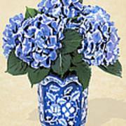 Blue Hydrangeas In A Pot On Parchment Paper Art Print