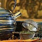 Blue Japanese Teapot Art Print by Sandra Cunningham