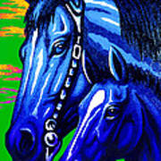 Blue Madonna And Child Art Print