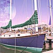 Blue Moon Harbor II Art Print by Betsy Knapp