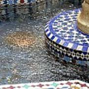 Blue Mosaic Fountain I Art Print