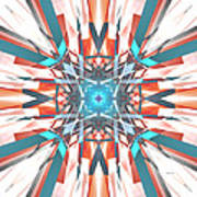 Blue Orange Kaleidoscope Art Print