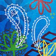 Blue Paisley Garden Art Print