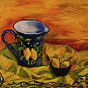 Blue Pitcher With Lemons Art Print by Phyllis  Smith