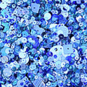 Blue Sequins Of Various Shapes And Sizes Art Print by Andrew Paterson