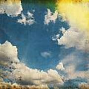 Blue Sky On Old Grunge Paper Art Print