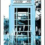 Blue Telephone Booth In A Field In Maine Art Print by Kara Ray