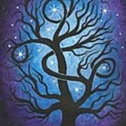 Blue Twisted Tree Art Print