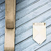 Blue Wooden Door With A Plate Art Print