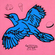 Bluebird On Pink Art Print