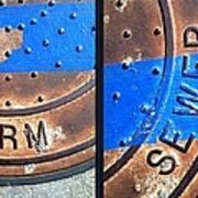Bluer Sewer Diptych Art Print