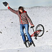 Bmx Flatland In The Snow - Monika Hinz Art Print