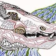 Boar Skull Ink Art Print