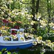 Boat At The Keukenhof Art Print