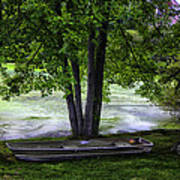 Boat By The Pond 2 Art Print
