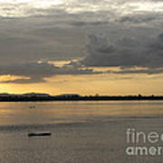 Boat On River At Sunset Art Print
