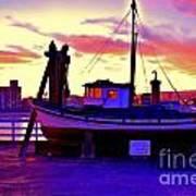 Boat On Santa Cruz Wharf Art Print by Garnett  Jaeger