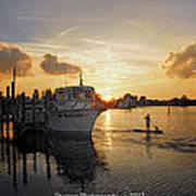 Boat Plastic Sunset  Art Print