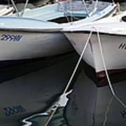 Boat Reflections In Hvar Art Print