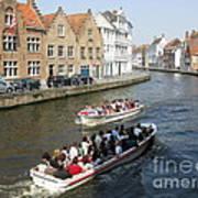 Boat Tours In Brugge Belgium Art Print