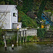 Boathouse Boy Fishing Art Print