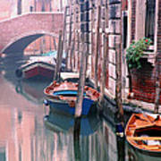 Boats Bridge And Reflections In A Venice Canal Art Print