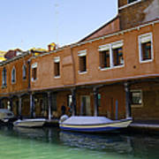 Boats On The Canal - Venice Art Print