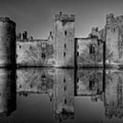 Bodiam Castle In Mono Art Print by Mark Leader