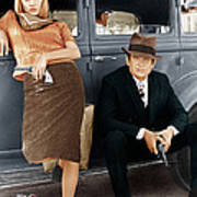 Bonnie And Clyde, From Left Faye Art Print by Everett