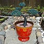Bonsai Tree Medium Red Glass Vase Planter Art Print