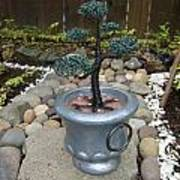 Bonsai Tree Medium Silver Vase Art Print