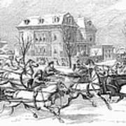 Boston: Sleighing, 1854 Art Print