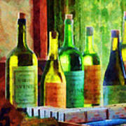 Bottles Of Wine Near Window Art Print