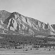 Boulder Colorado Flatiron Scenic View With Ncar Bw Art Print