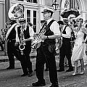 Bourbon Street Second Line Wedding New Orleans In Black And White Art Print