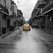 Bourbon Street Taxi Cab French Quarter New Orleans Color Splash Black And White Art Print