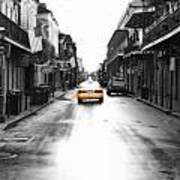 Bourbon Street Taxi French Quarter New Orleans Color Splash Black And White Diffuse Glow Digital Art Art Print