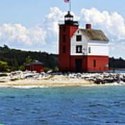 Round Island Light House Michigan Art Print