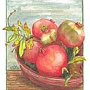 Bowl Of Pomegranates Art Print