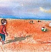 Boy At Beach Playing And Chasing Ball Art Print