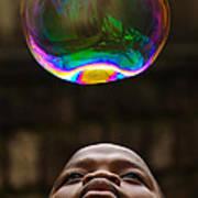 Boy Blowing Bubble Art Print