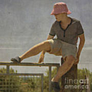 Boy On A Fence Waiting For Lance Armstrong Print by Paul Grand